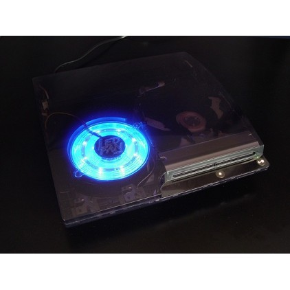"Coque PS3 Slim ""Smoke"" + ventilateur bleu"